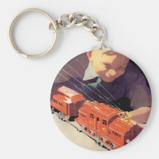 Young boy with his train basic round button keychain