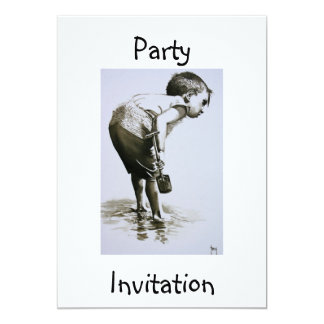 Young Boy with Spade Party Invitation