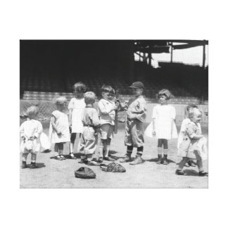 Young Boys and Girls on the Baseball Field Canvas Print