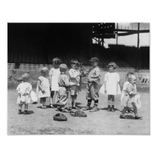 Young Boys and Girls on the Baseball Field Poster