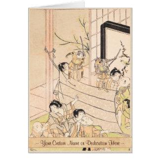 Young Boys Performing Puppet Show Kitao Shigemasa Card