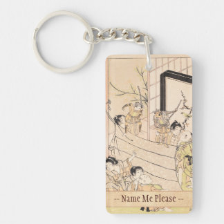 Young Boys Performing Puppet Show Kitao Shigemasa Double-Sided Rectangular Acrylic Keychain