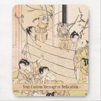 Young Boys Performing Puppet Show Kitao Shigemasa Mouse Pad