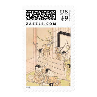 Young Boys Performing Puppet Show Kitao Shigemasa Postage Stamp