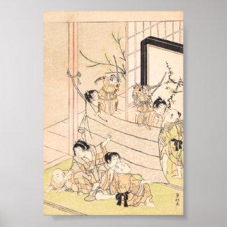 Young Boys Performing Puppet Show Kitao Shigemasa Poster
