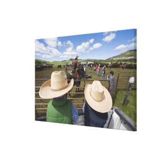 Young boys take in the 2007 Hughes Ranch Stretched Canvas Print