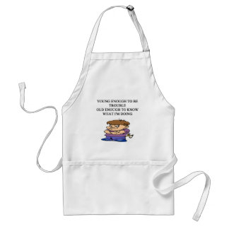 young brat son and daughter designs adult apron