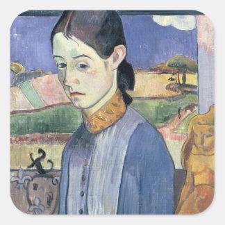 Young Breton Woman, 1889 (oil on canvas) Square Sticker