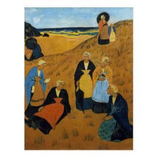Young Breton Women wearing Shawls Postcard