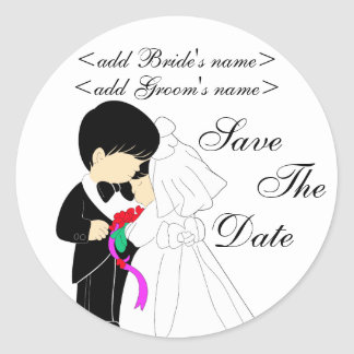 Young Bride and Groom Sticker