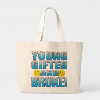 Young Broke Life B Large Tote Bag