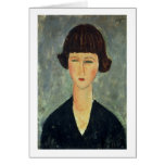 Young Brunette, 1917 (oil on canvas) Greeting Cards