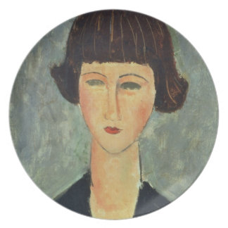 Young Brunette, 1917 (oil on canvas) Dinner Plate