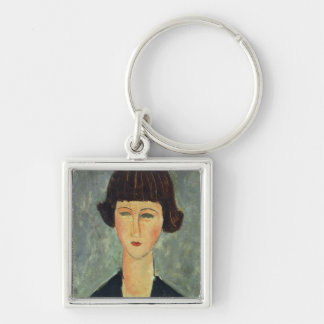 Young Brunette, 1917 (oil on canvas) Keychain