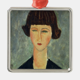 Young Brunette, 1917 (oil on canvas) Metal Ornament