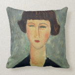 Young Brunette, 1917 (oil on canvas) Pillow