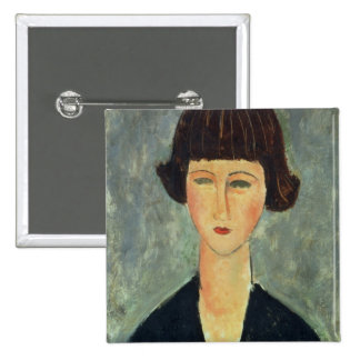 Young Brunette, 1917 (oil on canvas) Pinback Button