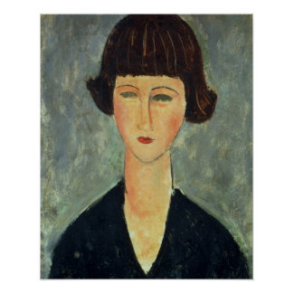 Young Brunette, 1917 (oil on canvas) Poster