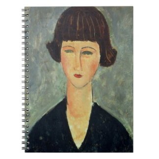 Young Brunette, 1917 (oil on canvas) Spiral Notebook
