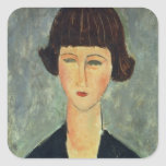 Young Brunette, 1917 (oil on canvas) Square Sticker