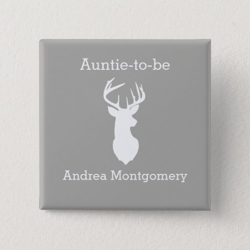 Young Buck Deer Silhouette Custom Button Name Tag