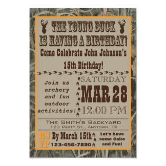 "Young Buck Hunting Birthday Invitation with Camo 5"" X 7"" Invitation Card"