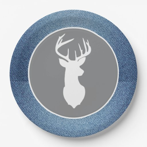 Young Buck White Deer Denim Gray Party Plates