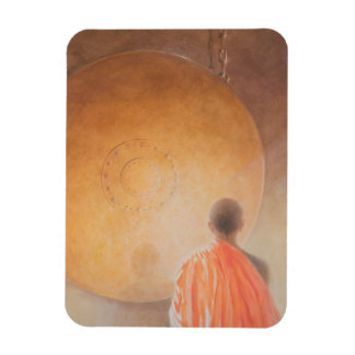 Young Buddhist Monk and Gong Bhutan 2010 Magnet