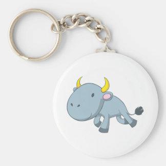 Young Bull Cartoon Basic Round Button Keychain