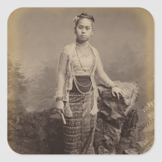Young Burmese girl, c.1875 Square Sticker