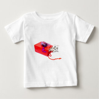 Young cat lying in red bag with decoration baby T-Shirt