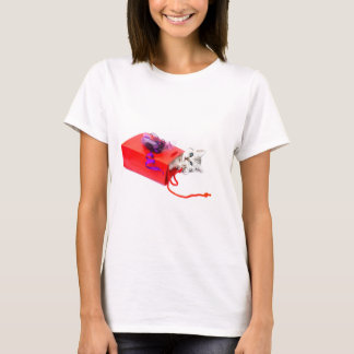 Young cat lying in red bag with decoration T-Shirt