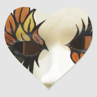 Young Ceramic Carnival Mask Heart Sticker