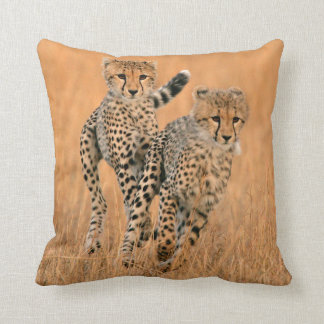 Young Cheetahs (Acinonyx Jubatus) Running Throw Pillow