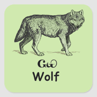 Young Cherokee Wolf Square Sticker