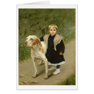 Young Child and a Big Dog oil on canvas Greeting Cards