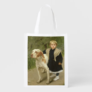 Young Child and a Big Dog (oil on canvas) Grocery Bag