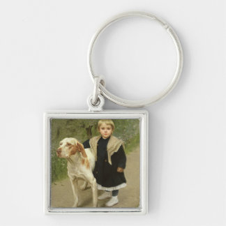 Young Child and a Big Dog (oil on canvas) Keychain
