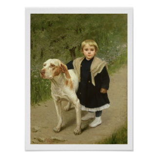 Young Child and a Big Dog (oil on canvas) Poster