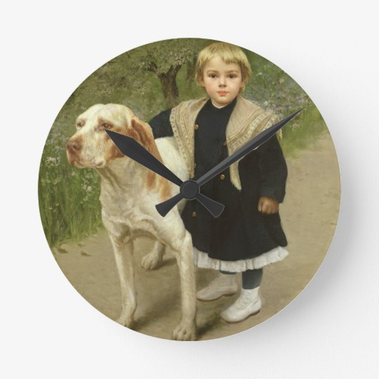 Young Child and a Big Dog (oil on canvas) Round Clock