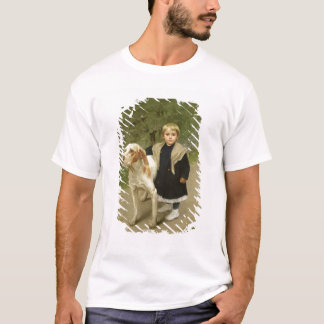 Young Child and a Big Dog (oil on canvas) T-Shirt