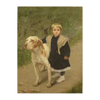 Young Child and a Big Dog (oil on canvas) Wood Wall Art