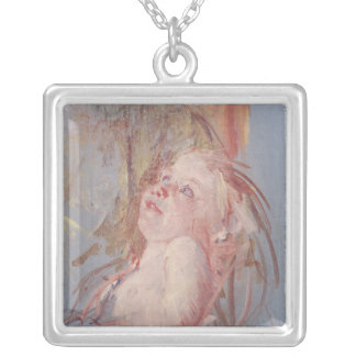 Young Child in its Mother's Arms Silver Plated Necklace
