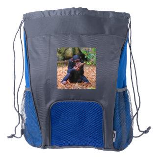 young chimpanzee 03 drawstring backpack