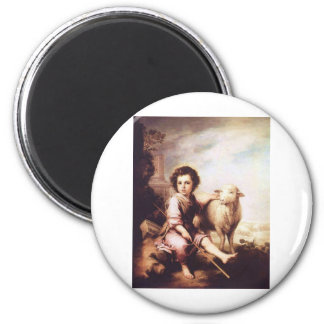 Young Christ as the good shepherd circa 1660 2 Inch Round Magnet