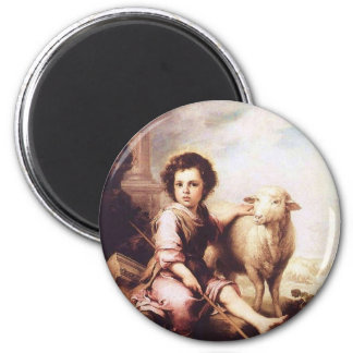Young Christ as the good shepherd circa 1660 Magnet