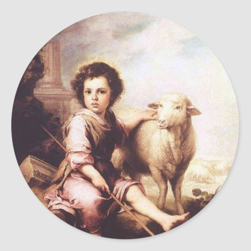 Young Christ as the good shepherd circa 1660 Round Stickers