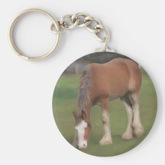 young Clydesdale Basic Round Button Keychain