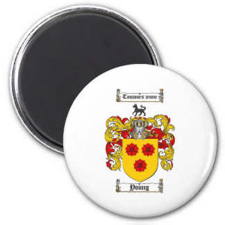Young Coat of Arms / Young Family Crest 2 Inch Round Magnet