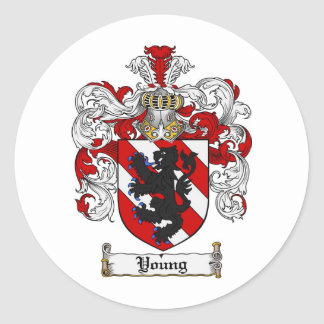 Young Coat of Arms Young Family Crest Classic Round Sticker